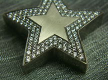 Stern Anhänger Weißgold - Paveé mit 102 Brillanten